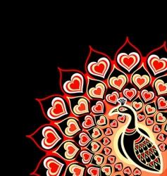 peacock love card vector image