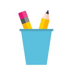 school plastic cup with pencil pen supplies vector image vector image