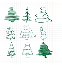 christmas trees sketch set vector image vector image