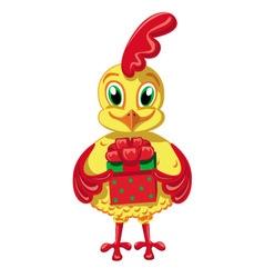 Cockerel with a gift vector image