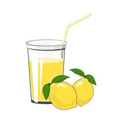 glass with lemon juice vector image