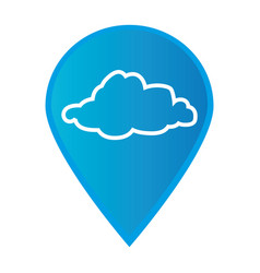 mark icon pointer gps with silhouette cloud icon vector image vector image