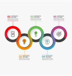 timeline infographic banner of 5 round elements vector image