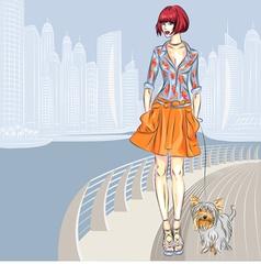 fashion girl walks with dog vector image vector image