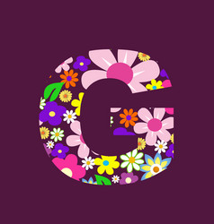 letter of beautiful flowers g vector image