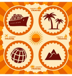 Poster design with travel icons vector image