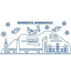 usa minnesota minneapolis winter city skyline vector image vector image