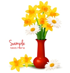 daffodil vase background vector image vector image