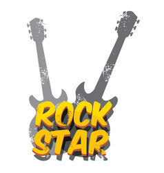 hipster cartoon retro label rock star vector image vector image