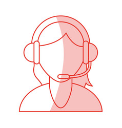 red shading silhouette cartoon half body faceless vector image