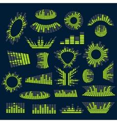 Set of digital music equalizer design vector image vector image