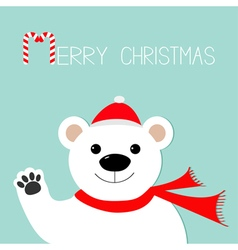 White polar bear in santa claus hat and scarf paw vector image vector image