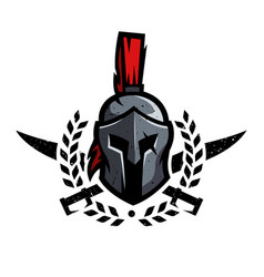wreath swords and helmet of the spartan warrior vector image
