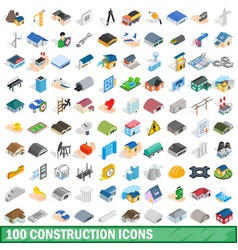 100 construction icons set isometric 3d style vector
