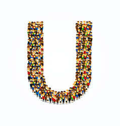 a group of people in english alphabet letter u vector image