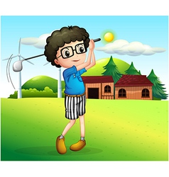 A little boy playing golf vector