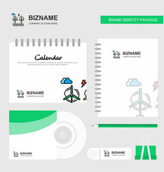air turbine logo calendar template cd cover diary vector image