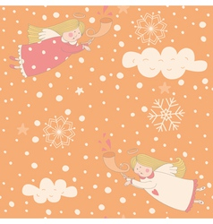 Angels seamless Christmas pattern vector image