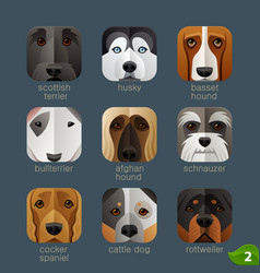 Animal faces for app icons-dogs set 1 vector