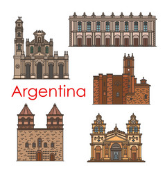 argentina landmarks architecture line icons vector image