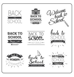 back to school logos set doodle hand drawn label vector image