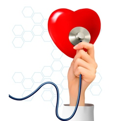 Background with hand holding a stethoscope against vector