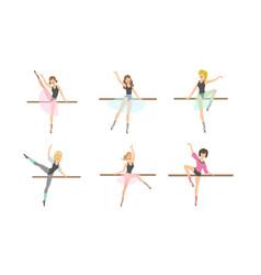 ballerina characters dancing set classical ballet vector image