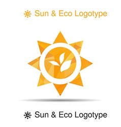 Bio logo icon and symbol leaves in the sun vector image