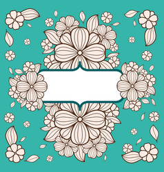 Black and white vintage card with flowers vector