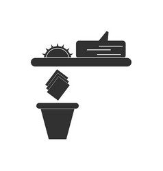 Black icon on white background paper and trash vector