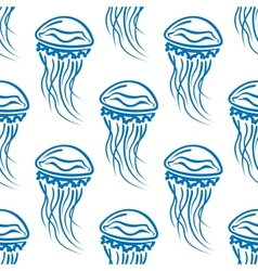 Blue outline jellyfishes seamless pattern vector image