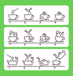 brewing tea instruction preparing green or black vector image