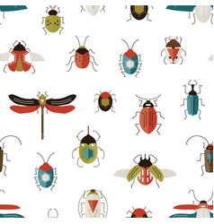 bugs colorful seamless pattern beetles vector image