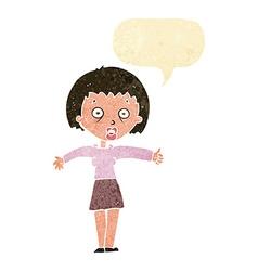 Cartoon amazed woman with speech bubble vector