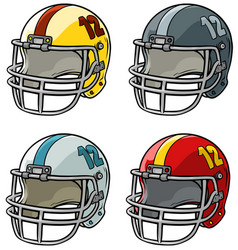 Cartoon american football helmet icon set vector