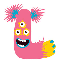 cartoon capital letter l from monster alphabet vector image