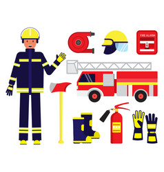 cartoon color character person fireman and vector image