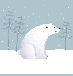 cartoon polar bear with winter landscape scene vector image