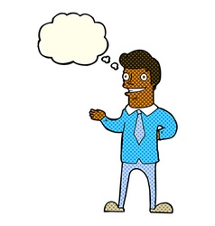 Cartoon salesman with thought bubble vector