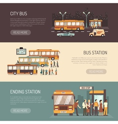 City Bus Flat Horizontal Banners Set vector
