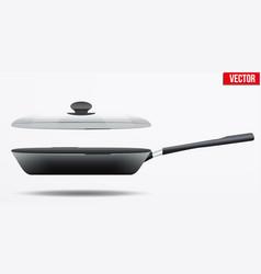 classic metal black non-stick frying pan vector image