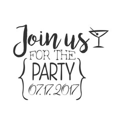 Cocktail party black and white invitation card vector