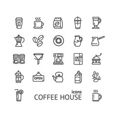 coffee house sign black thin line icon set vector image