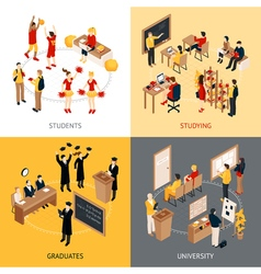College And University Isometric 2x2 Icons Set vector