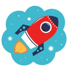 Colorful cartoon Rocket in space isolated on white vector image