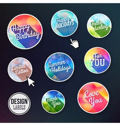 Colorful set of labels with long shadow vector image
