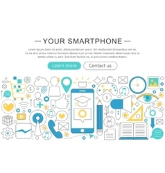 elegant thin flat line Your Smartphone vector image
