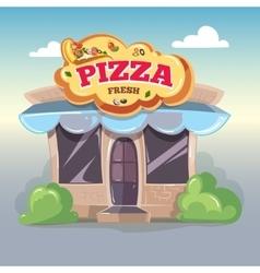 Facade of pizzeria vector