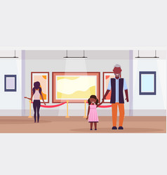 Family visitors in modern art gallery museum vector