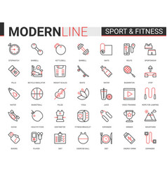 Fitness healthy lifestyle flat thin red black line vector